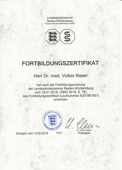 Fortbildungszertifikat Volker Naser - 2018-05-13